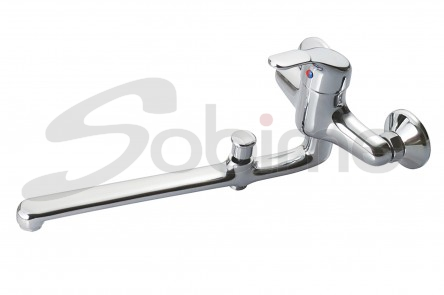 SINGLE HANDLE WALL SINK MIXER 350 mm CAST SPOUT WITH BATH-SHOWER INVERTER SM2