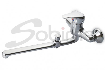 SINGLE HANDLE WALL SINK MIXER 350 mm CAST SPOUT WITH BATH-SHOWER INVERTER SM3