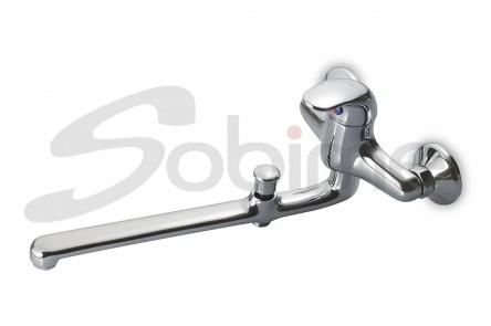 SINGLE HANDLE WALL SINK MIXER 350 mm CAST SPOUT WITH BATH-SHOWER INVERTER SM6