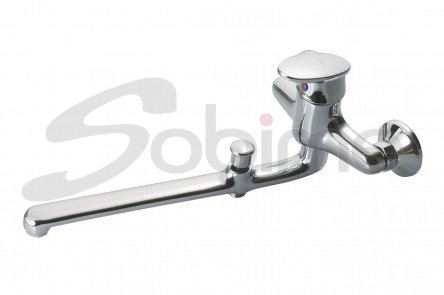 SINGLE HANDLE WALL SINK MIXER 350 mm CAST SPOUT WITH BATH-SHOWER INVERTER SM10